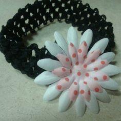 Beautiful  headband White and Polkadot pink Flower by ONSHINE, $3.99