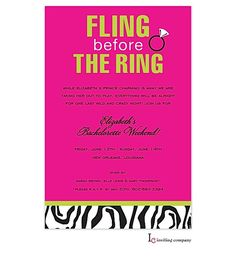 Bachelorette Party invitations Last Fling Before the Ring