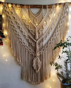 Large Macrame Wall Hanging, Bohemian Accent, Weave wall hanging, Boho Style Interior, Tapestry for B Macrame Wall Hanging Patterns, Large Macrame Wall Hanging, Macrame Art, Macrame Design, Macrame Patterns, Macrame Projects, Quilt Patterns, Macrame Knots, Macrame Jewelry