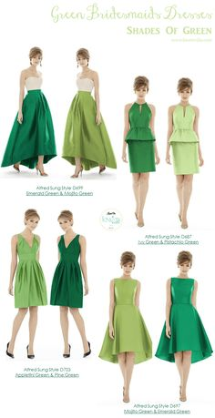 Green Bridesmaids Dresses - KnotsVilla