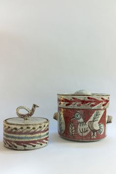 Covered pots by Jean Derval & Gustave Reynaud for The Mulberry Tree studio - circa 1955 Ceramic Store, Pottery Designs, Pottery Ideas, Ceramic Boxes, Pottery Sculpture, Ceramic Pottery, Ceramic Art, Statues, Clay Art