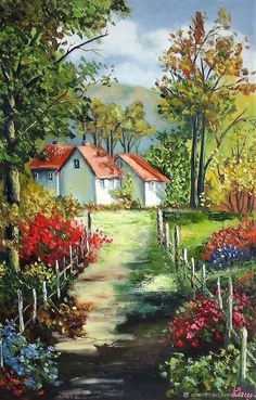 Birthday present # picture + in + style + provence # picture + wit. Watercolor Landscape Paintings, Landscape Art, Watercolor Paintings, Cottage Art, Painted Cottage, Beautiful Paintings, Art Oil, Painting Inspiration, Art Drawings