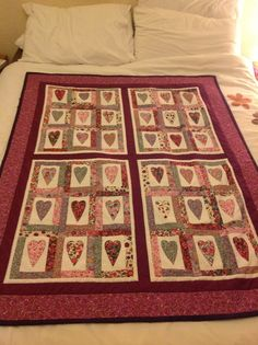 Using 'liberty hearts' pattern purchased from Sunflowerfabrics.com I simply made four identical blocks added some sashing and boarders and ended up with a stunning quilt that my husband adores.