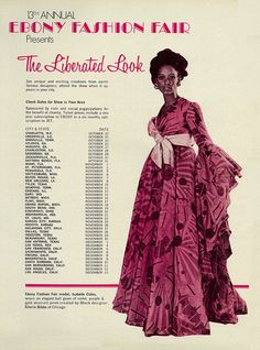 """1970 Ebony Fashion Fair Ad, 13th Annual Fashion Show, """"The Liberated Look,"""" Lovely Model in Evening Gown   Flickr - Photo Sharing!"""