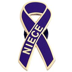 Support a loved one and raise awareness for pancreatic cancer with this NIECE ribbon pin. Measures 1 1/4ö in length. Made of high quality gold-plated metal and hard enamel finish.    Pancreatic Cancer Action Network has partnered with Havard & Associates, Inc. Richard Havard founded the company to be able to care for his lovely wife, Agnes. She was a 28-year survivor, who unfortunately lost her battle in 2007 due to her cancers. During her fight, she felt that when a person is supporting a…