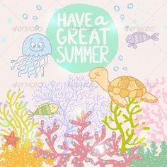 Marine Life ...  art, background, beautiful, character, color, comic, cute, design, drawing, eps 10, fauna, fish, happy, illustration, jellyfish, life, marine, nature, sea, seaweed, silhouette, summer, sweet, swim, tropical, turtle, underwater, vector, water, wildlife