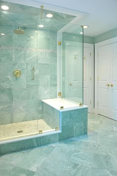 Ming Green marble tiles for the elegant interior design ming green marble tile for barthroom ideas installed on the wall and floor plus glass walk in shower - Marble Bathroom Dreams Light Green Bathrooms, Green Marble Bathroom, Pastel Bathroom, Bathroom Floor Tiles, Bathroom Layout, Bathroom Ideas, Tile Floor, Shower Bathroom, Marble Bathrooms
