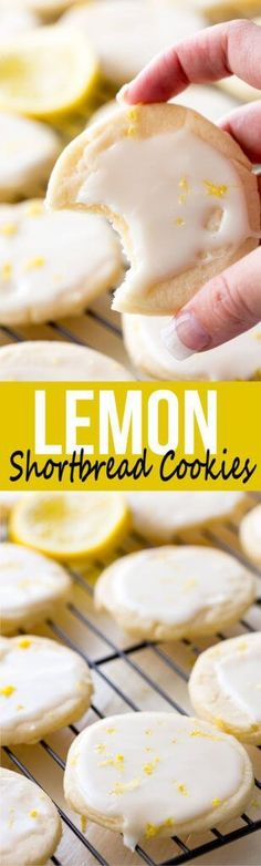 Shortbread Cookies: Literally the best cookies ever! These light, buttery cookies offer a subtle lemon flavor, and are topped with a bright and vibrant lemon glaze, giving you a mouthful of delicious goodness. These are special cookies. Lemon Desserts, Cookie Desserts, Delicious Desserts, Dessert Recipes, Yummy Food, Lemon Recipes Baking, Good Cookie Recipes, Baking Cookies, Cookie Cups