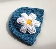 Lace Daisy Baby Beanie  Blue with White Flower  2-5mo, $13.00