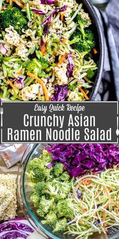 Asian Side Dishes, Cold Side Dishes, Side Dishes Easy, Side Dish Recipes, Ramen Cabbage Salad, Asian Ramen Noodle Salad, Ramen Noodles, Cold Noodle Salads, Asian Broccoli Slaw