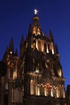 Beautiful church in the center of town at night in Mx.