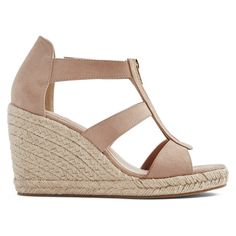 ShoeDazzle Wedge Karsey Womens Beige/Brown ❤ liked on Polyvore featuring shoes, wedges, beige wedge shoes, zip shoes, brown wedge shoes, espadrilles shoes and wedge espadrilles