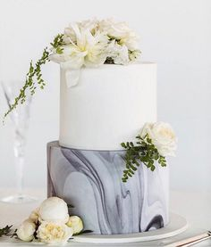 Gray Marble Wedding Cake Greenery Woodland Boho Wedding Cake Ideas