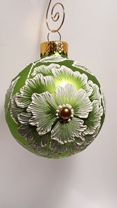 Peonies hand-painted on lime apple spring green blown glass ball ornament brush embroidery textured flower floral garden Christmas by SaltRiverFancies on Etsy