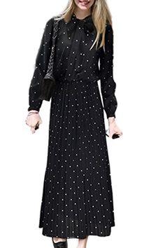 055a79edf Womens Long Sleeve Pussy Bow Polka Dot Tunic Maxi Pleated Dress Plus Size  Black XXL84 *