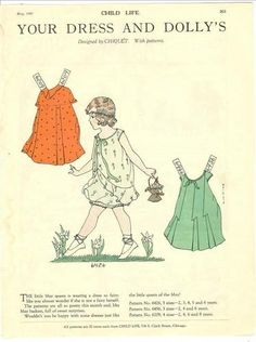 Child Life PD, May 1929          Have one to sell? Sell it yourself  Child Life Magazine Paper Doll Your Dress & Dolly's May 1929 Polly -CHIQUET