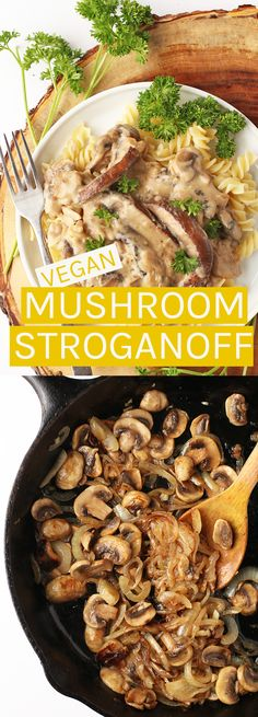 *Substitute gf ingredients where necessary.* A healthier spin on this classic dish, this vegan Mushroom Stroganoff is rich, creamy, and filled with flavor! Entree Vegan, Vegan Dinner Recipes, Veggie Recipes, Whole Food Recipes, Vegetarian Recipes, Cooking Recipes, Healthy Recipes, Easy Recipes, Vegan Mushroom Stroganoff