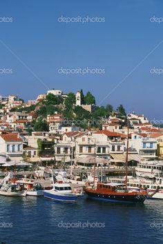 Greece, Skiathos, harbor and boats. #Greece #Skiathos #Greek