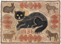 "Estimated: $1000 - $1500  Realized Price: $2844  American hooked rug, dated 1936, with a central cat surrounded by animals, 26"" h., 36"" w."