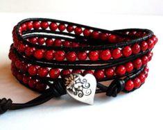 Mens Leather Bracelet Unisex Hematite Bead by BelkysBracelets