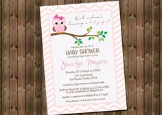 Baby Shower Invitation Pink Owl Chevron by RockStarPress on Etsy, $13.00 for a digital file