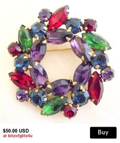 Fabulous Weiss Gold tone Rhinestone Wreath Pin in Primary Colors - VINTAGE