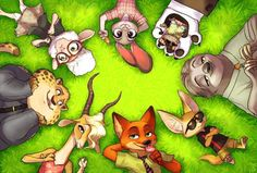 Zootopia Judy, Mr. Big, Flash, Finnick, Nick, Gazelle, Clawhauser and Bellweather who doesn't look to happy