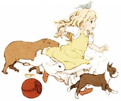 This is a very cute anime wallpaper. it features a little girl running with her cute lil animals. Such a cutie.