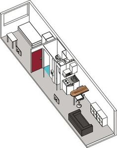 40 Genius Studio Apartment Ideas Decorating On A Budget: Container 40 Ft ( ) Habitable 40ft Container, Container House Plans, Container House Design, Tiny House Design, Bachelor Apartment Decor, Vintage Apartment Decor, Studio Apartment Decorating, Apartment Ideas, Container Architecture
