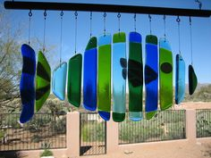 fused glass wind chime...I wonder if I can get my mom to make this for me...