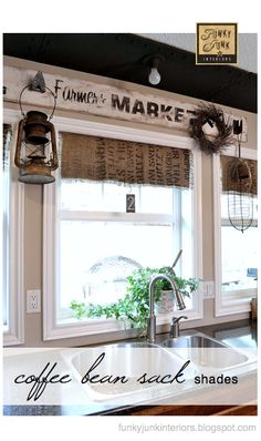 Coffee bean bag roll shades – full tutorial and so easy! via Funky Junk Interiors Coffee bean bag roll shades – full tutorial and so easy! via Funky Junk Interiors… Decor, House, Interior, Home, Kitchen Window Treatments, House Styles, Funky Junk Interiors, Home Kitchens, Rustic Window