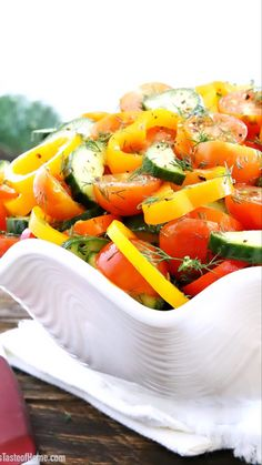 This Sweet Pepper Tomato Cucumber Salad is crunchy, soft, sharp, smooth, aromatic, and savory! It looks so attractive and inviting that you can't help but pile a huge helping of it onto your plate. #peppers #cherrytomatorecipes #cucumber #dill #valyastasteofhome   www.valyastasteofhome.com Best Salad Recipes, Thm Recipes, Sweets Recipes, Cucumber Salad Dressing, Grilled Chicken Thighs, Recipe Instructions, Stuffed Sweet Peppers, Salad Ingredients, How To Make Salad