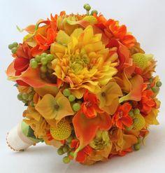 Fall Calla Lily Bridal Bouquet   Autumn Wedding Bridal Bouquet - Silk Calla Lilies, Dahlias, ...   Bou ...
