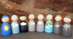 Weather Peg Doll Set - Set of 8 Wooden Peg Dolls. Weather Peg Doll Set - Set of 8 Wooden Peg Dolls. Lol Doll, Sock Dolls, Dolls Dolls, Blythe Dolls, Wooden People, Wood Peg Dolls, Wooden Pegs, Wooden Art, Pine Cone Crafts