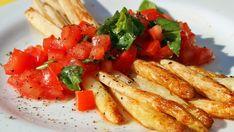 Gebratener Spargel mit Tomaten-Concasse - Für die vegane Version Spargel in Alsan und/oder Öl braten.