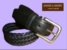 Bassin & Brown - Navy Woven/Leather Belt Made In England. http://www.bassinandbrown.com/