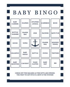 Nautical Printable Baby Bingo Cards by LittleSizzle
