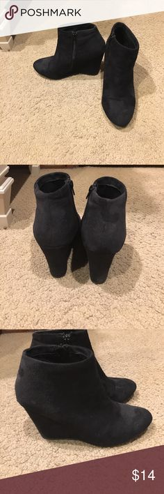 Forever 21 black Suede booties. Barely worn! Super cute black suede booties. Size 10. Only worn a few times. Very comfortable. Wedge style. Forever 21 Shoes Ankle Boots & Booties