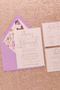 Gorgeous Silver Letterpress and Purple Watercolor Floral Pattern Wedding Invitations, Spring Wedding Trends, Summer Wedding Trends
