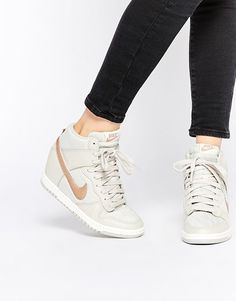 low priced e6dc5 5a52b Sporty Outfits   Description Image 1 of Nike Dunk Sky Hi Off White Wedge  Trainers https
