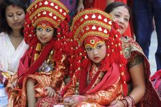 Nepalese girls in traditional dress at a festival