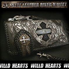 WILD HEARTS/Stingray Biker Wallet Skull⨯ Carved leather