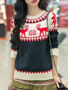 Fresh Style Elk Printed Long Sleeve Pullover Snowflake Sweater For Women Sweaters & Cardigans   RoseGal.com Mobile