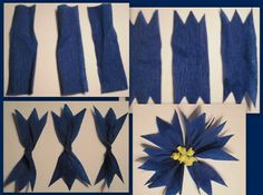 """The blue cornflower has been the national flower of Estonia since 1968 and symbolizes daily bread to Estonians. In Estonian the flower is called a Ryeflower :) and you can find it in the rye fields…Képtalálat a következőre: """"diy cornflower"""" Little Flowers, Felt Flowers, Diy Flowers, Fabric Flowers, Cute Crafts, Diy And Crafts, Crafts For Kids, Paper Crafts, Crepe Paper Flowers Tutorial"""