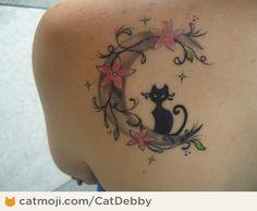 Black Cat With Moon Tattoo Design