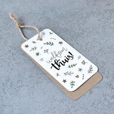 Welkom thuis - Handlettered gift tag by Van Jantien