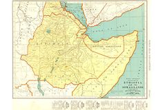 Map of Ethiopia, colonial Somalia, and Eritrea. Shows railroads, rivers, mountains and towns. Fascinating index of town populations lower margin. Color lithograph from Old Maps, Vintage Maps, Ethiopia, Rivers, Colonial, Around The Worlds, Mountains, Travel, Color