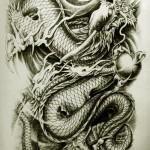 Восточный дракон Стиль Татуировка (24)