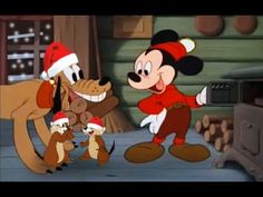 Mickey Mouse, Donald Duck, Pluto and Chip and Dale Merry Christmas Carto...