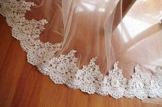 pearl beaded lace trim bridal lace trim ivory by Lacefabricstore